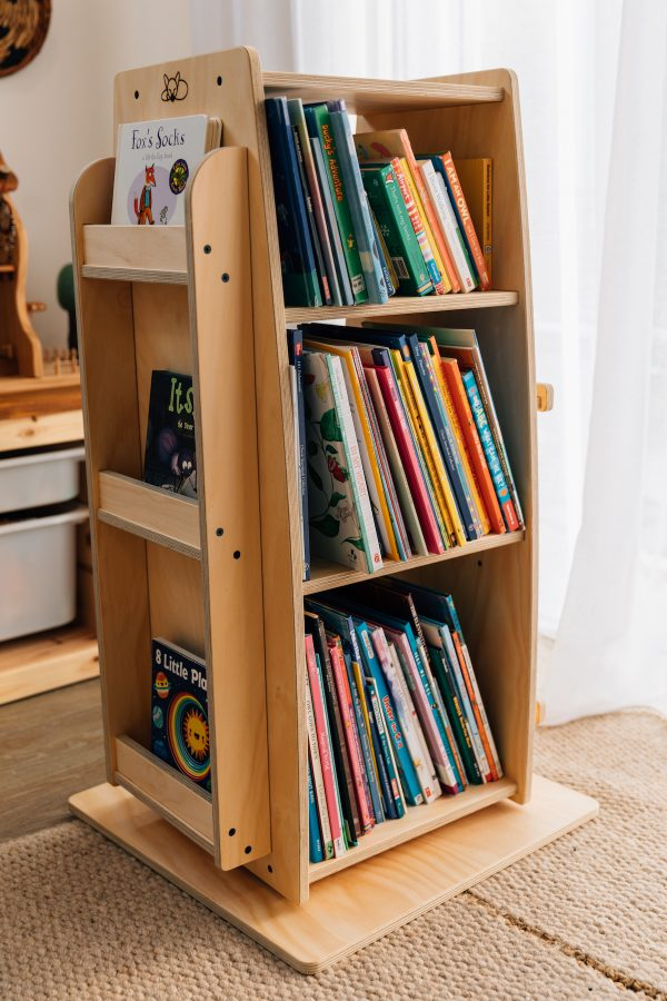 Bookworm Revolving Bookshelf displayed full of novels. Made in Australia from sustainably sourced local timber.