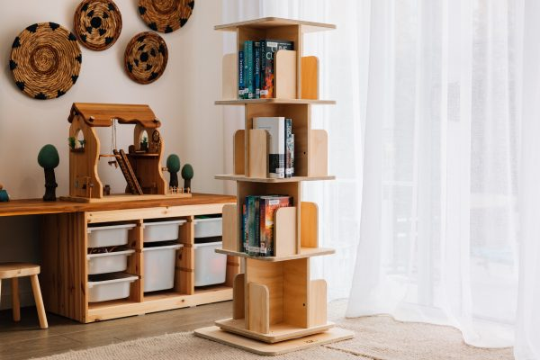 Novelist Revolving Bookshelf displayed full of novels. Made in Australia from sustainably sourced local timber.