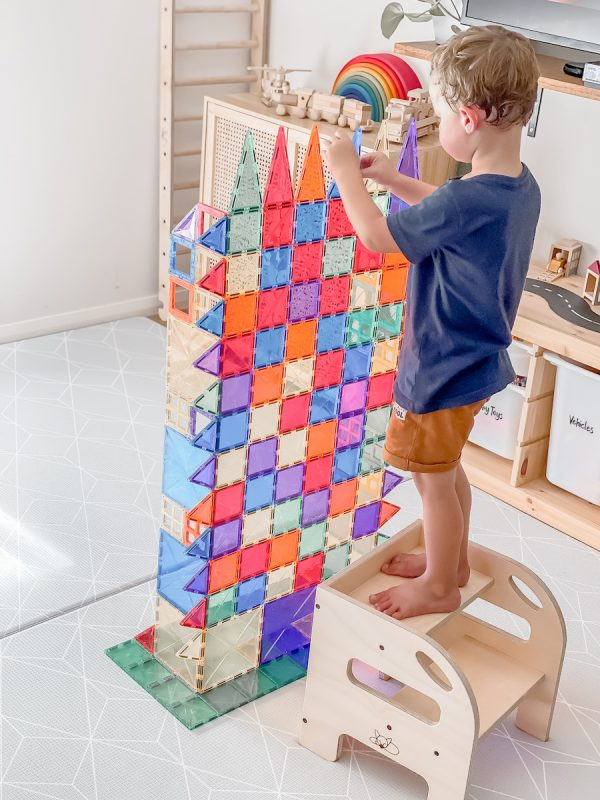 2 up step timber to help a child reach his tower