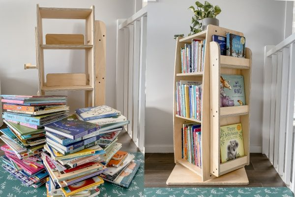 Before vs. After. A side by side comparison of how many books can fit into the bookworm rotating bookshelf
