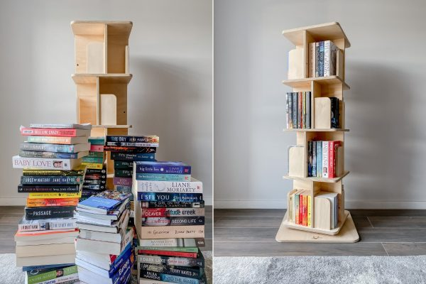 Before vs. After - A side by side comparison showing how many books can fit into the novelist rotating bookshelf