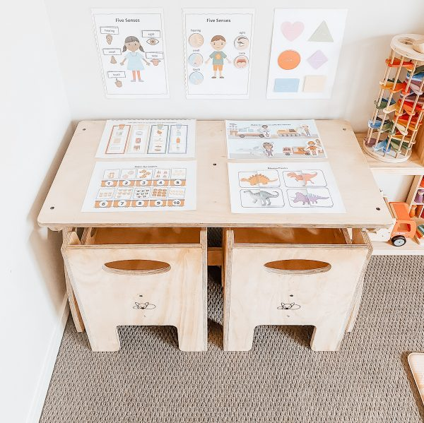 Montessori Activity Table in a play room.