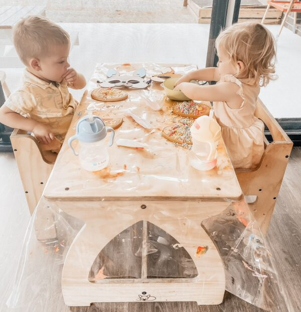 Montessori Activity Package - montessori weaning chairs and table for children being used for children's craft activities