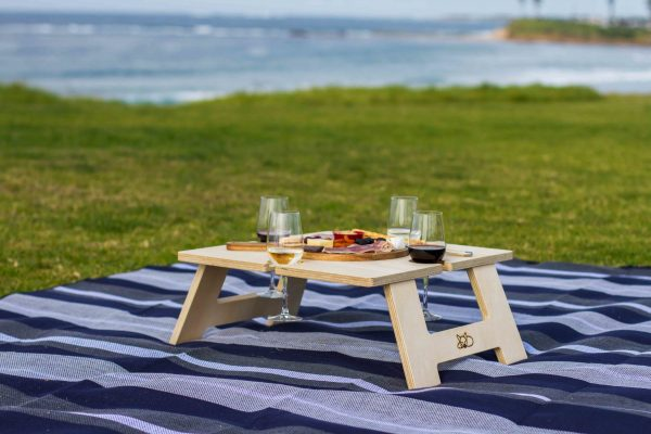Square Wine Table with delicious food and drinks