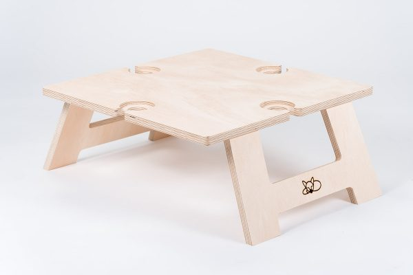 Top and front view of square picnic table.