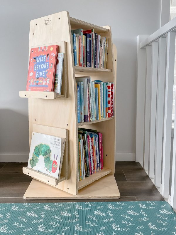 The bookworm bookshelf for kids, inspired by Montessori and covered in children's book.