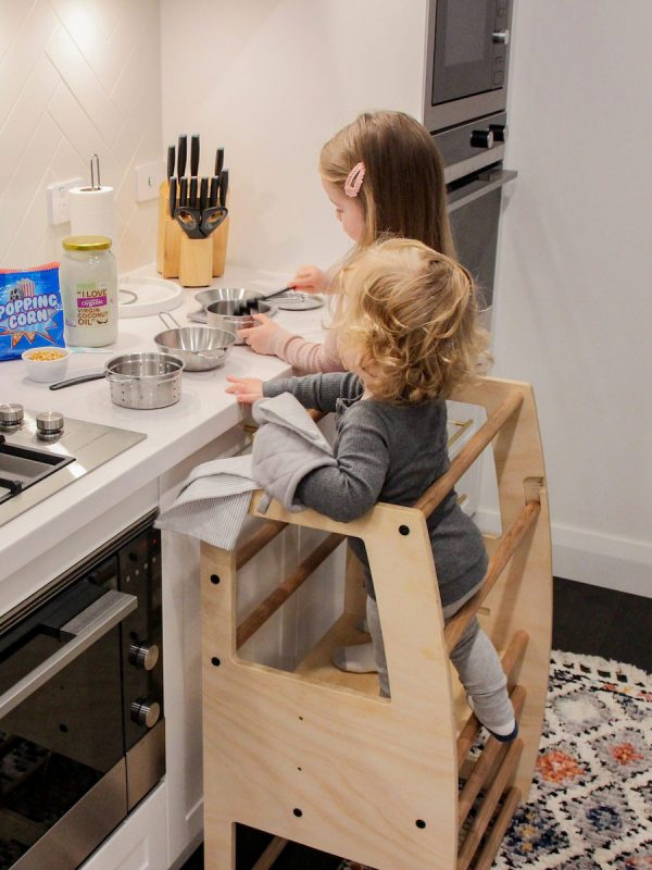 Kids cooking and standing on the My Little Helper Double -Timber Finish