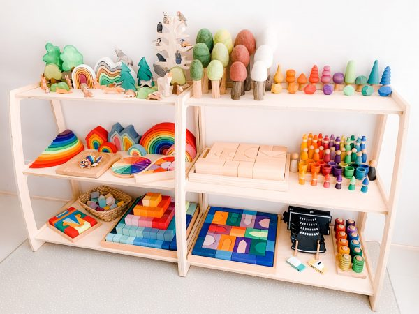 Montessori Toy Shelf Wooden two next to each other with wooden rainbow toys