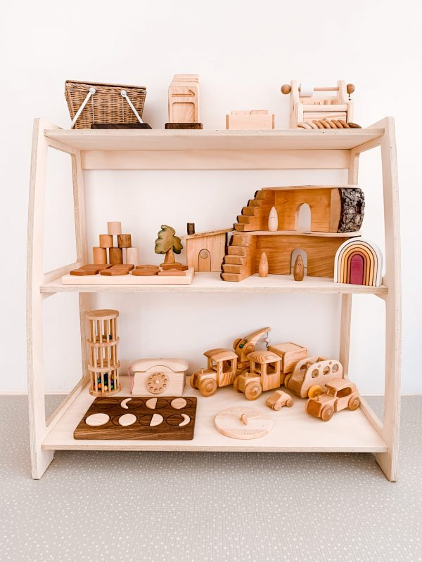 Montessori Toy Shelf Wooden with wooden toys