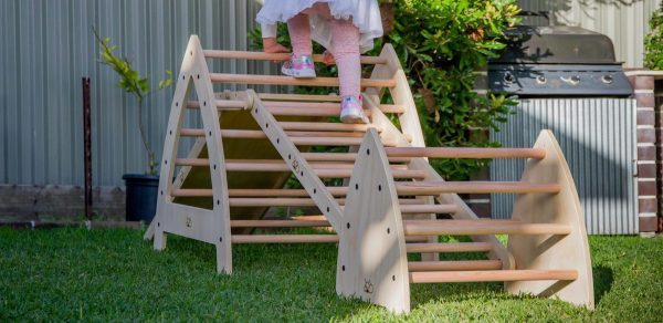 Girl playing on the ladder outdoors