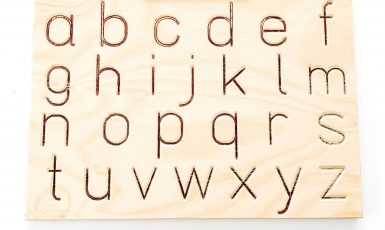 Lowercase wooden tracing board for children