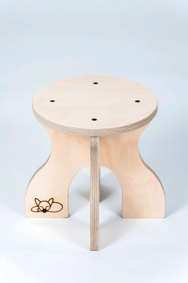 A single mini stool for a toddler