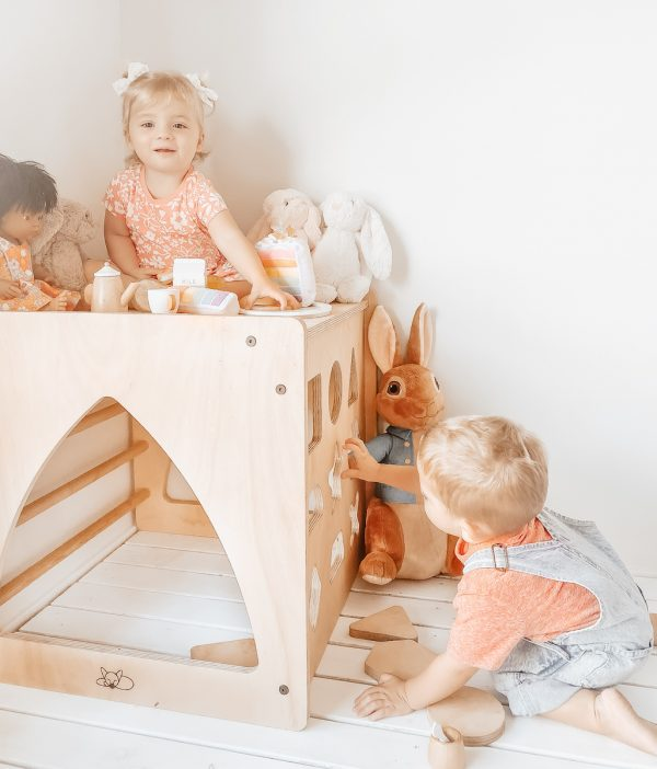 Two children playing with the wooden shape sorter cube