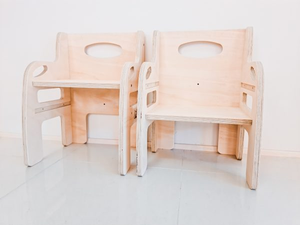Two weaning chairs in timber