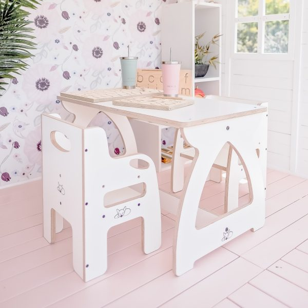 White weaning chair at a children's table