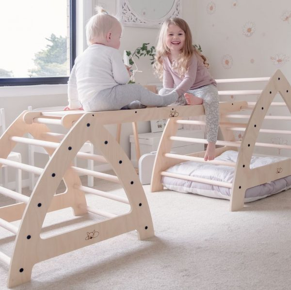 Kids playing on Fox Wood Co furniture for kids.
